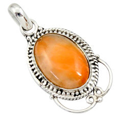 925 sterling silver 10.31cts natural orange calcite pendant jewelry d33868