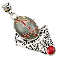 16.06cts natural grey silver leaf jasper 925 silver butterfly pendant d33870
