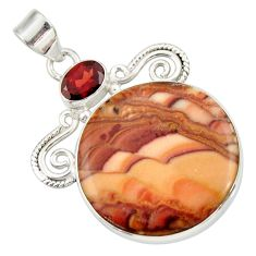 Clearance Sale- 925 silver 26.16cts natural brown wave rolling hills dolomite pendant d33874