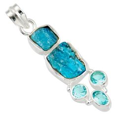 Clearance Sale- 14.72cts natural blue apatite rough topaz 925 sterling silver pendant d33879