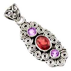 3.58cts natural red garnet amethyst 925 sterling silver pendant jewelry d33885