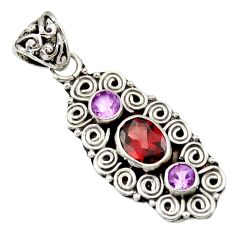 3.58cts natural red garnet amethyst 925 sterling silver pendant jewelry d33887