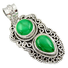 Clearance Sale- 7.07cts natural green malachite (pilot's stone) 925 silver pendant d33889