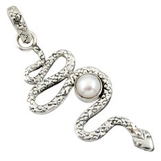 1.41cts natural white pearl 925 sterling silver snake pendant jewelry d33892