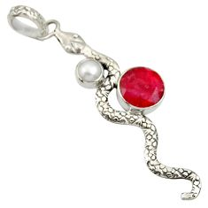 Clearance Sale- 5.63cts natural red ruby white pearl 925 sterling silver snake pendant d33894