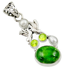 Clearance Sale- 15.74cts natural green chrome diopside 925 silver love birds pendant d36201