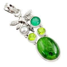 Clearance Sale- 14.84cts natural green chrome diopside pearl 925 silver dragonfly pendant d36202
