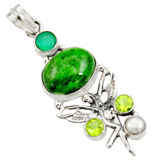 Clearance Sale- 16.17cts natural green chrome diopside silver angel wings fairy pendant d36204