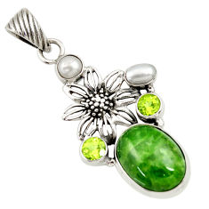 Clearance Sale- 925 silver 15.74cts natural green chrome diopside peridot flower pendant d36205