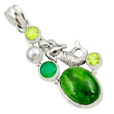 17.81cts natural green chrome diopside 925 silver fairy mermaid pendant d36206