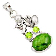 Clearance Sale- 15.74cts natural green chrome diopside 925 silver love birds pendant d36207