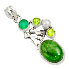 Clearance Sale- 14.88cts natural green chrome diopside pearl 925 silver two cats pendant d36208
