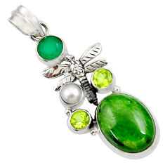 Clearance Sale- 925 silver 15.33cts natural green chrome diopside pearl dragonfly pendant d36209