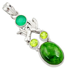 Clearance Sale- 14.45cts natural green chrome diopside 925 silver love birds pendant d36211