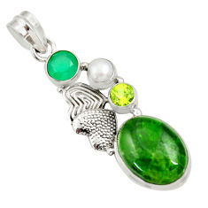 Clearance Sale- 12.65cts natural green chrome diopside pearl silver love birds pendant d36212