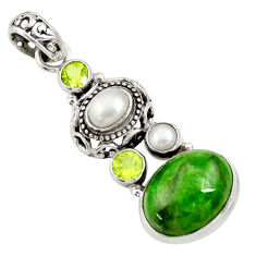 Clearance Sale- 925 silver 13.55cts natural green chrome diopside peridot pearl pendant d36213