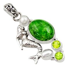15.11cts natural green chrome diopside 925 silver fairy mermaid pendant d36214