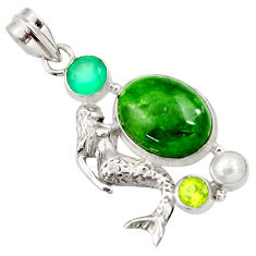Clearance Sale- 14.88cts natural green chrome diopside 925 silver fairy mermaid pendant d36215