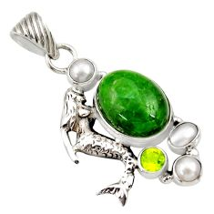 Clearance Sale- 13.54cts natural green chrome diopside 925 silver fairy mermaid pendant d36217