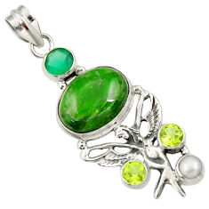 Clearance Sale- 15.76cts natural green chrome diopside silver angel wings fairy pendant d36218