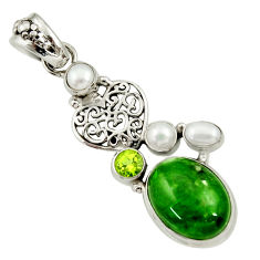 Clearance Sale- 925 silver 14.45cts natural green chrome diopside peridot pearl pendant d36219