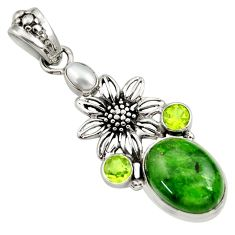 Clearance Sale- 12.45cts natural green chrome diopside peridot 925 silver flower pendant d36220