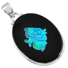 17.42cts natural black opal cameo on black onyx 925 silver pendant d36221