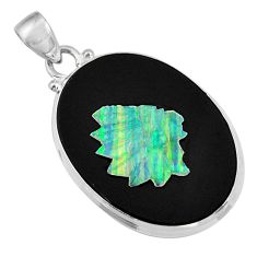 Clearance Sale- 16.87cts natural opal cameo on black onyx 925 sterling silver pendant d36222