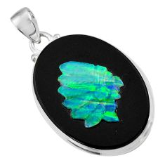 Clearance Sale- 17.93cts natural black opal cameo on black onyx 925 silver pendant d36223