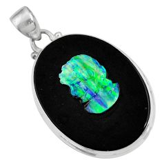 Clearance Sale- 16.87cts lady face natural black opal cameo on black onyx silver pendant d36224