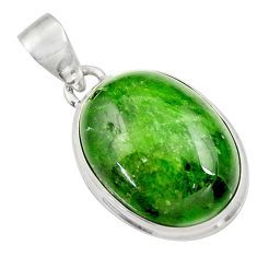 Clearance Sale- 925 sterling silver 17.57cts natural green chrome diopside oval pendant d36225