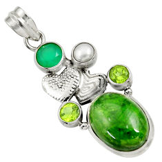 14.20cts natural green chrome diopside 925 silver couple hearts pendant d36230