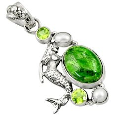 Clearance Sale- 925 silver 14.45cts natural green chrome diopside fairy mermaid pendant d36232