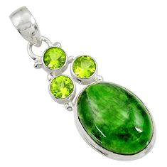 Clearance Sale- 15.97cts natural green chrome diopside oval peridot 925 silver pendant d36233