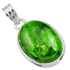 Clearance Sale- 15.08cts natural green chrome diopside oval 925 sterling silver pendant d36235