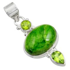 Clearance Sale- 925 silver 15.11cts natural green chrome diopside oval peridot pendant d36236