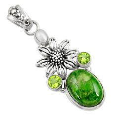 Clearance Sale- 13.34cts natural green chrome diopside peridot 925 silver flower pendant d36237