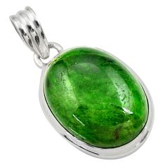 Clearance Sale- 17.22cts natural green chrome diopside oval 925 sterling silver pendant d36238