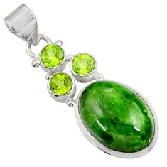 Clearance Sale- 925 silver 13.79cts natural green chrome diopside oval peridot pendant d36240