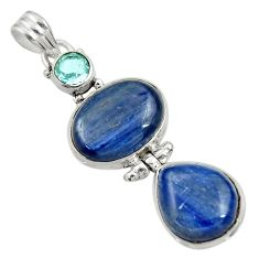 Clearance Sale- 21.72cts natural blue kyanite topaz 925 sterling silver pendant jewelry d36246