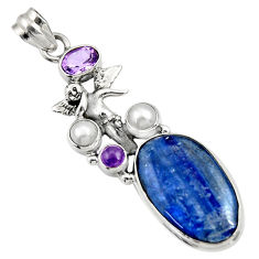 Clearance Sale- 21.34cts natural blue kyanite pearl 925 silver angel wings fairy pendant d36249