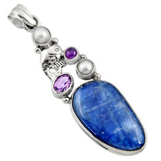 Clearance Sale- 925 sterling silver 26.18cts natural blue kyanite amethyst pearl pendant d36252