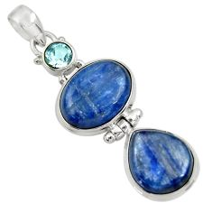 21.18cts natural blue kyanite topaz 925 sterling silver pendant jewelry d36254
