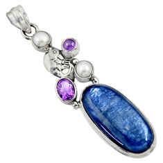 Clearance Sale- 925 sterling silver 25.71cts natural blue kyanite amethyst pearl pendant d36258