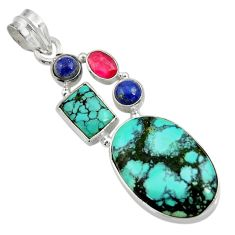 20.65cts natural green turquoise tibetan lapis lazuli 925 silver pendant d36261