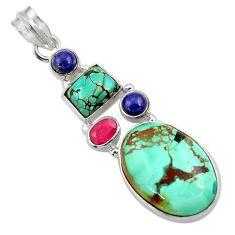 Clearance Sale- 20.58cts natural green turquoise tibetan lapis lazuli 925 silver pendant d36262