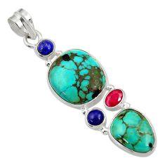 18.68cts natural green turquoise tibetan lapis lazuli 925 silver pendant d36263