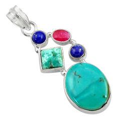 16.92cts natural green turquoise tibetan lapis lazuli 925 silver pendant d36265