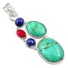 Clearance Sale- 925 silver 13.77cts natural green turquoise tibetan lapis lazuli pendant d36267