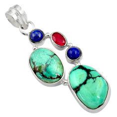 Clearance Sale- 17.69cts natural green turquoise tibetan lapis lazuli 925 silver pendant d36268